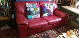 LARGE, COMFY RED LEATHER SOFA (BED)
