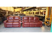 Ex-display Arizona Antique brown leather manual recliner 3+2 seater sofas