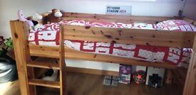 Mid-Sleeper Solid Pine Bunk Bed