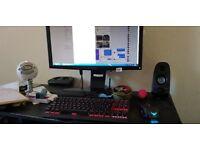 Corsair Gaming Keyboard, Corsair Mouse, Hotas Thrustmaster