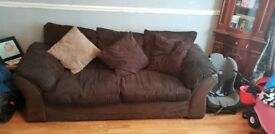 2&3 seater brown cord sofas