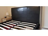 Porada 4 drawers leather double bed and foam memory mattress