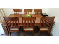 Solid Mahogany Dining Table With Six Matching Chairs Plus 2 Carvers