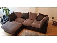 Corner Sofa left hand grey/black Shoreditch