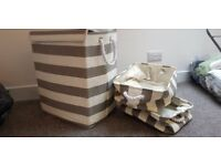 Canvas washing basket with matching small baskets