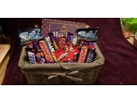 Sweets Hampers chocolate or jellys in a wooden hamper or unicorn suitcase