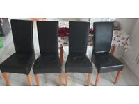 4 x black leather dining chairs