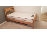 Single Oak Wooden Bed Frame and Sealy Mattress
