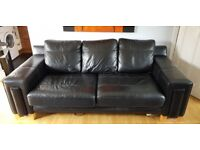 Leather Sofa, Chair and Footstool