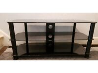 Black Tempered Glass TV Table