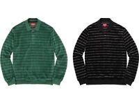 Supreme L/S velour polo. Green stripe size M