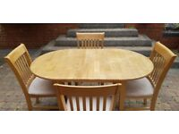 Solid Oak Dining Table (Extendable) and Chairs - £80