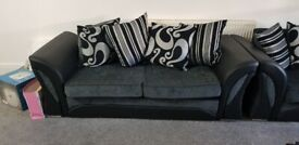 2x Shanon black and grey 3 seater sofa with cushions