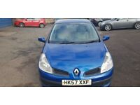 2008 on 57 plate Clio expression 1.2 turbo 100 mot one year