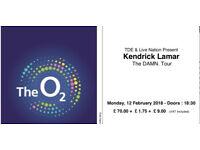 1 kendrick lamar & James Blake ticket, o2 Arena, Feb 12th 2018