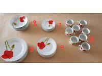 RED POPPY DESIGN - DINNER AND TEA SET