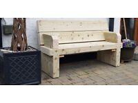 Double railway sleeper bench with arm support garden furniture set summer set Loughview JoineryLTD
