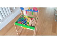 Wooden toy with desk and tools, Bouhgt new and in very good condtion in smoke and pet free home