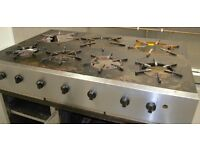 7 Burner Hob, very large, custom built, natural gas, storage under, dismantle able with wheels
