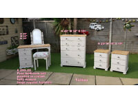 pine bedroom set painted cream bedsides dressing table and chest of drawers