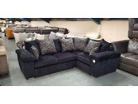Ex-display Alex charcoal black fabric corner sofa