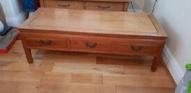 Coffee Table - Rosewood 3 Drawer with removable glass top