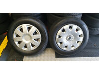 195 65 15 2 x tyres + 2 x Wheels Steel Rims Skoda Audi VW