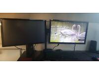 "2 24"" monitors + dual stand"