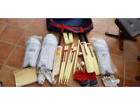 Junior Cricket Set Size 5, 2 x Batsmen's bat, gloves and pads plus wicketkeeper's kit, stumps, etc.