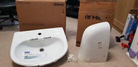 New, unused, Bathroom Sink (55cm) and Semi-Pedestal £20