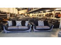 Ex-display Como 3+2 seater sofas in grey and black fabric combination