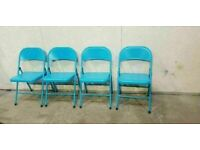 Set of 4 Blue Garden Foldable Chairs No291018