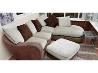Corner sofa two piece unit and foot stool
