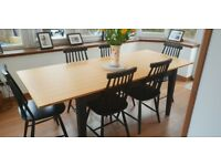 Black and Oak Table and Chairs from Next. Extendable table. 6 Chairs all black.