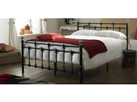 Oxford Small Double 4ft Black Metal Bed with mattress - Good condition, £70