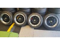 VW Audi Skod Seat Toyota Cades Eros Black 16 alloy wheels + 4 x tyres 205 50 16