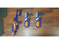 3 x nurf guns elite with bullets