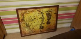 X2 LargeBrown Poster / Photo Frames with Maps of Middle Earth and Skyrim