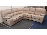 Real Leather cream and brown 5 seater manual reclining corner sofa.