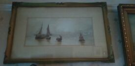 Antique watercolour with beautiful frame of ships in the bay, other paintings/antiques available