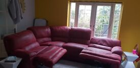 Harveys burgundy sofa, really good condition, both recliners lay flat, i paid £1500
