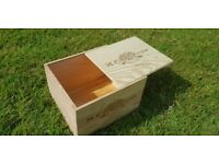 TRADITIONAL Wooden WINE Box with SLIDING lid - Craft Storage Box / Crate / Christmas Hamper Gift box