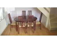 Extendable dining table and chairs (Morris of Glasgow)
