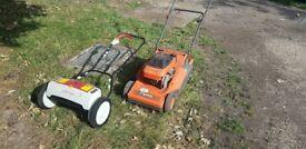 1 x Flymo petrol mower, 1 x Eckman electric mower. Selling as spares, were working