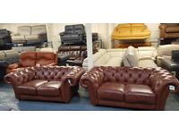 Ex-display Chesterfield brown leather pair of 2 seater sofas