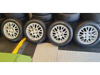 Mitsubishi Nissan Volvo Suzuki 15 alloy wheels + 4 x tyres 185 60 15 M+S