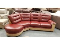 Ex-display SCS red and cream leather curved corner sofa