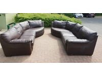 Very Large Dark Brown Leather Sofas - Used but fab condition