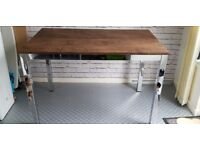 Kitchen/Dining table for sale. Nice dark wook and silver. Size : 120x80 cm. VGC. Collection only