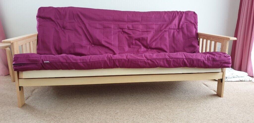 Cuba Futon Sofa Bed With Matress Purple